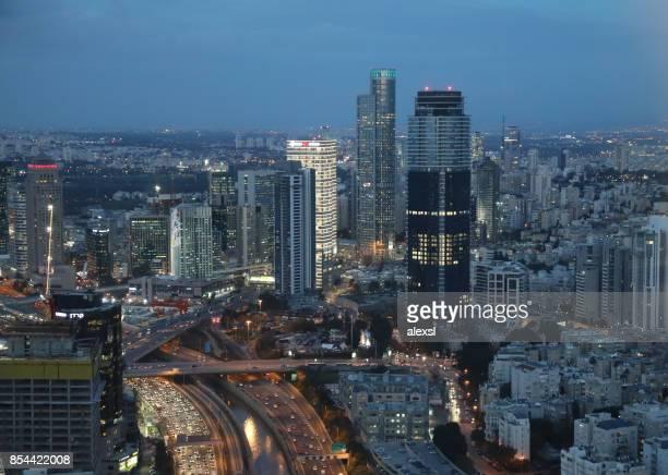 Tel Aviv Stadtbild Skyline Panorama Luftbild Abend