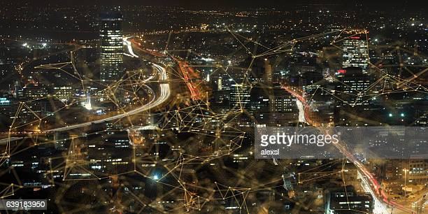 tel aviv cityscape skyline panoramic aerial view night - tel aviv foto e immagini stock