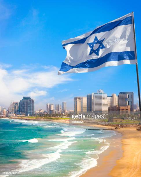 Tel Aviv kustlijn met Israël vlag, Israël
