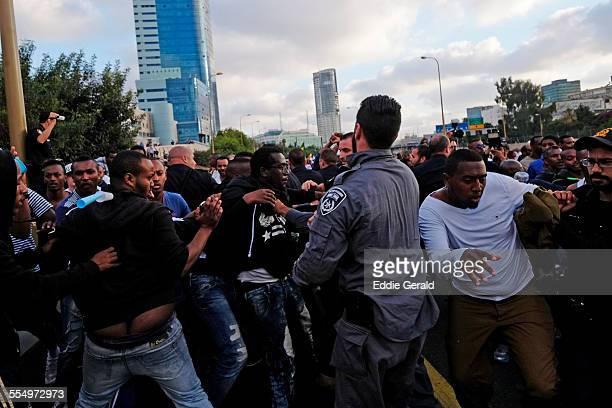 Tel Aviv Israel 03 May 2015 Ethiopian Israelis protesting in Tel Aviv against racism within Israeli society and police brutality