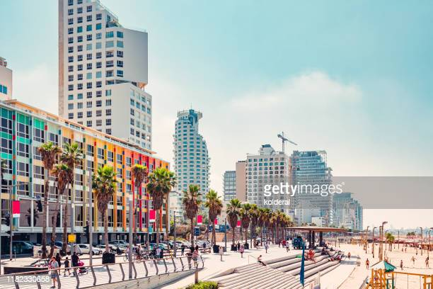 tel aviv promenade and mediterranean beach - israel stock pictures, royalty-free photos & images