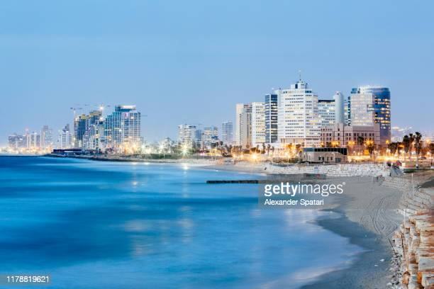 tel aviv skyline at dusk, high angle view, israel - tel aviv stock pictures, royalty-free photos & images