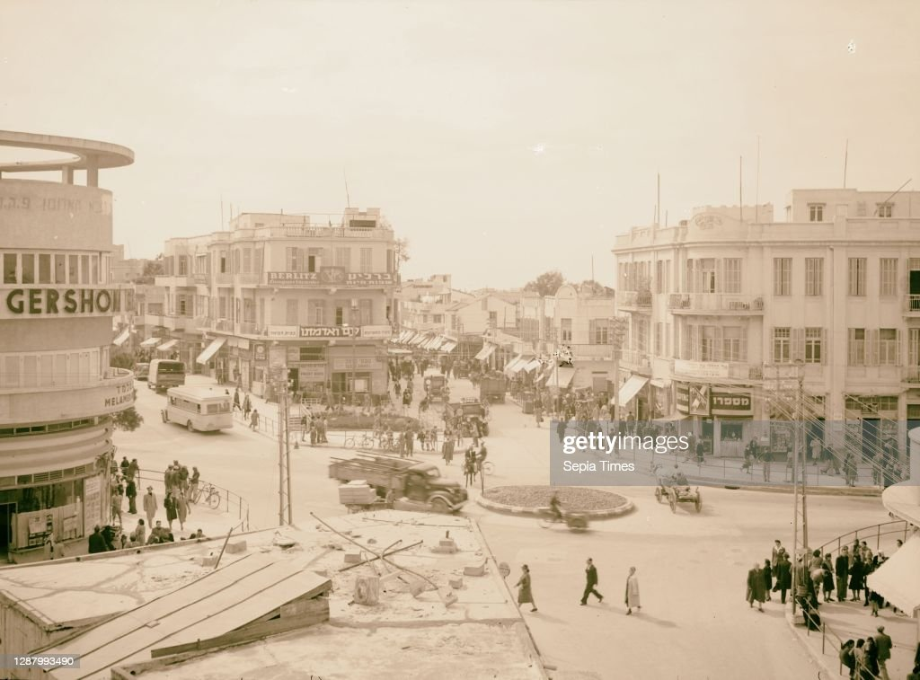Tel Aviv 1940 Photo Tel Aviv Street crossing Allenby Israel Carmel /& Nachlat Benjamin Sts Location