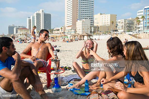 tel aviv summer beach lifestyle - hookah stock photos and pictures