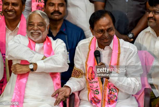 Telangana Chief Minister and TRS leader Kalvakuntla Chandrashekar Rao and other TRS leaders during a press conference after the party's electoral win...
