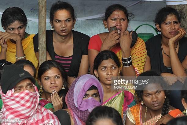 Telangana Hijra Intersex Transgender Samiti activists participate in a gathering at Dharna Chowk in Hyderabad on October 10 2014 The activists...