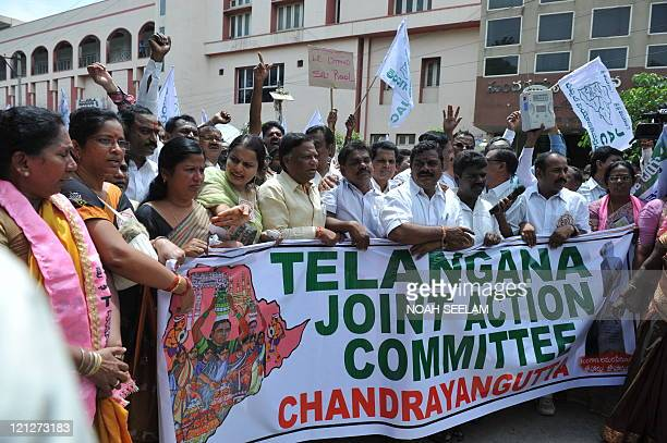 Telangana Joint Action Committee activists demonstrate in support of the separate state of Telangana in Hyderabad on July 17 2011 The Telangana Joint...