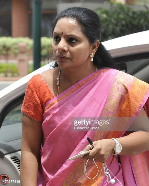 Telangana Rashtra Samithi Mp From Nizamabad K Kavitha At The News Photo Getty Images