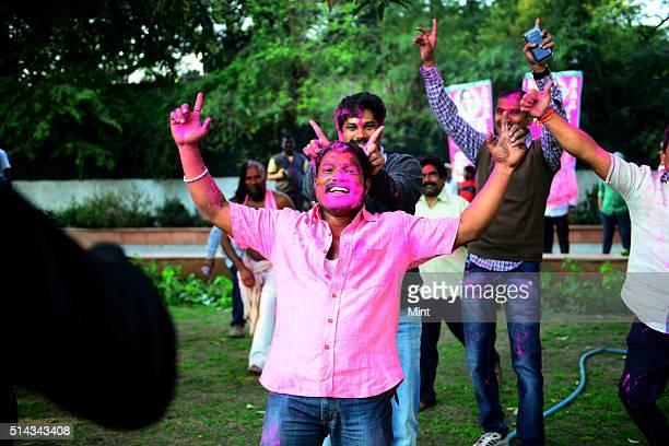 Telangana supporters celebrating after Telangana Bill passed in Lok Sabha on February 18 2014 in New Delhi India