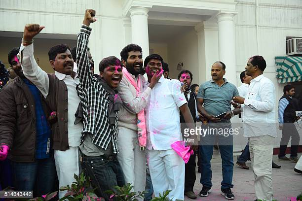 Telangana supporters celebrating after Telangana Bill passed in Lok Sabha in Delhi on February 18 2014 in New Delhi India