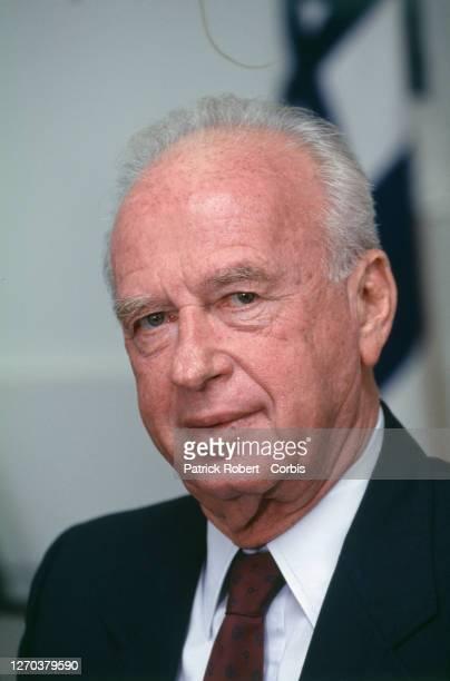 Tel-Aviv, portrait of Yitzhak Rabin after his victory in legislative elections.