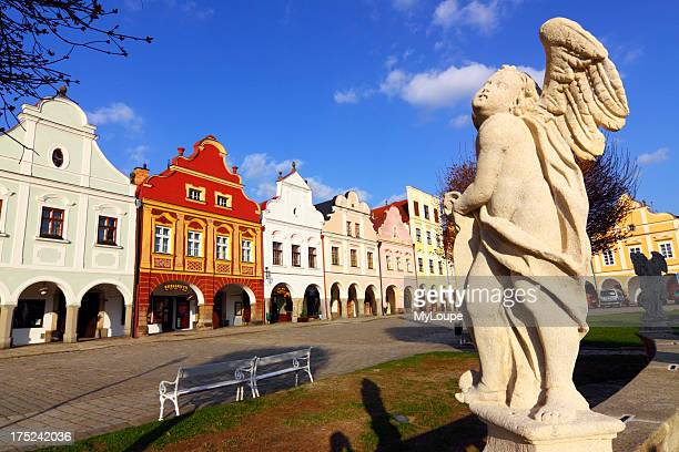 Telc Main Central Square with angel statue in foreground Unesco World Heritage Telc Czech Republic