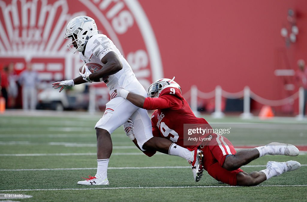 Teldrick Morgan #19 of the Maryland Terrapins runs with the ball while defended by Jonathan Crawford #9 of the Indiana Hoosiers at Memorial Stadium on October 29, 2016 in Bloomington, Indiana.