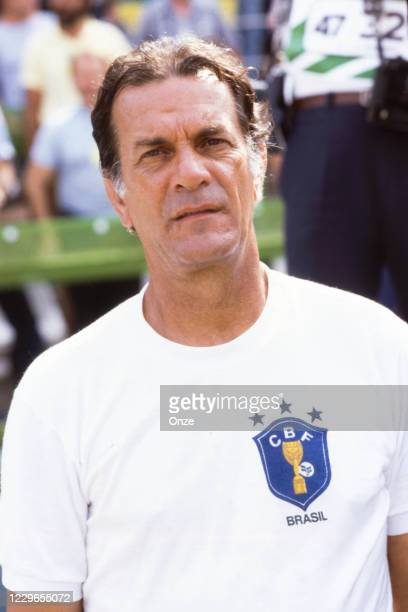 Tele Santana head coach of Brazil during the second stage of the 1982 FIFA World Cup match between Italy and Brazil, at Sarria Stadium, Barcelona,...