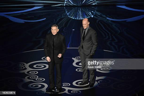 Telecast Executive Producer Neil Meron and producer Craig Zadan onstage during the Oscars held at the Dolby Theatre on February 24 2013 in Hollywood...