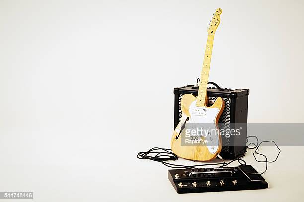 telecaster thinline electric guitar with roland amplifier and multi-effects unit. - amplifier stock pictures, royalty-free photos & images