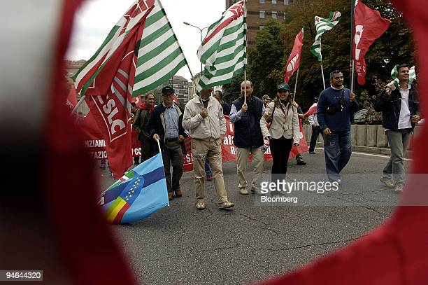 Telecom Italia workers demonstrate in Milan, Italy, Tuesday, October 3, 2006. Telecom Italia SpA's labor unions staged a national strike today to...