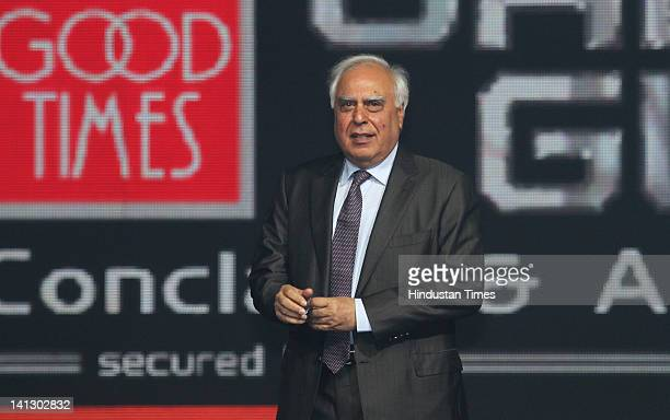 Telecom Minister Kapil Sibal presents during the NDTV Good Times Gadget Guru Conclave and Awards held at Dreams on March 12 2012 in Gurgaon India