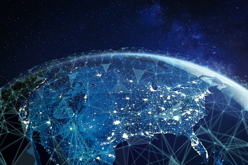 Telecommunication network above North America and United States viewed from space for American 5g LTE mobile web, global WiFi connection, Internet of Things (IoT) technology or blockchain fintech 1170940675