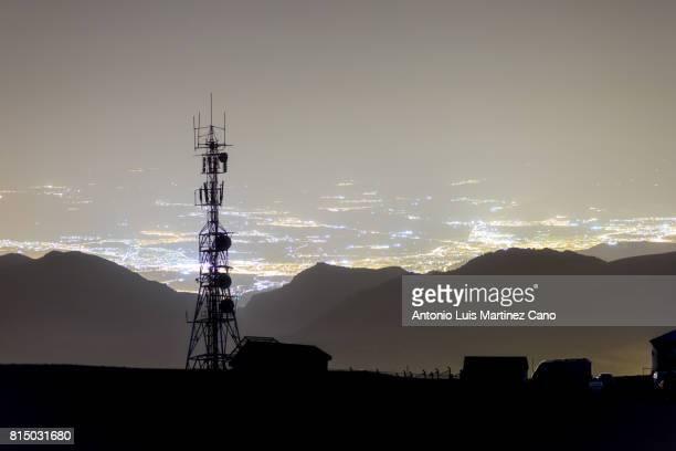 Telecommunication tower at night