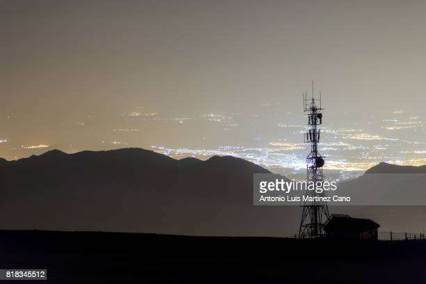 Telecommunication tower at night