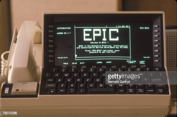 A telecommunications device for the office is seen on a desk at Bell Telephone Laboratories New Jersey late 1970s or early 1980s The device which...