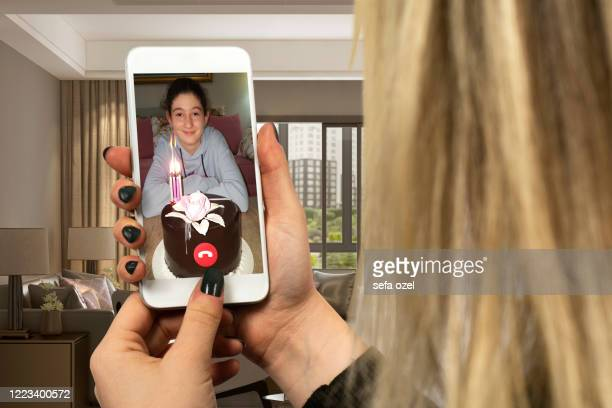 teleconference celebrating birthday - happy birthday images for sister stock pictures, royalty-free photos & images