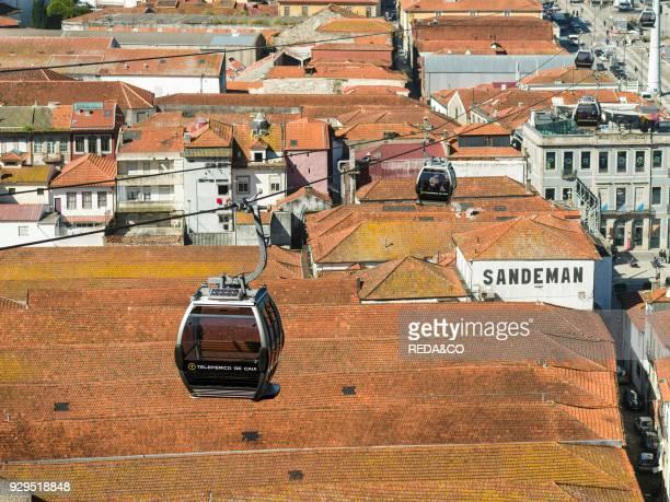 Teleferico de Gaia Vila Nova de Gaia on the opposite side of river Douro where most port wine cellars are located City Porto at Rio Douro in the...