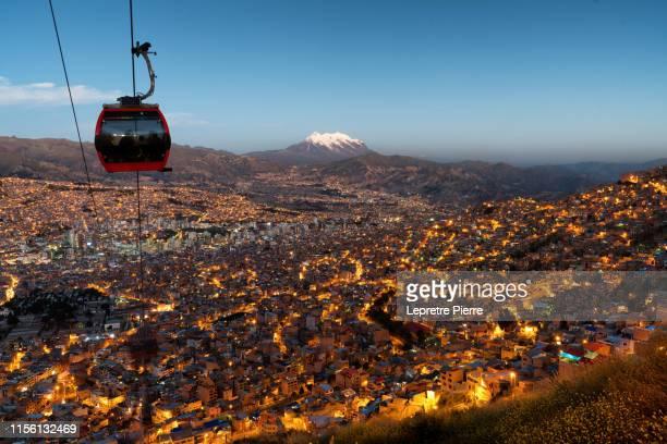 teleferico el alto, la paz, bolivia at night - bolivia fotografías e imágenes de stock