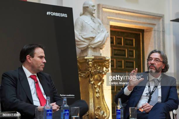 Telefonica VP Security Pedro Pablo Perez and Walhalla Datacenter Service President Juan Antonio Gomez Bule attend the Forbes Summit Reinventing Spain...