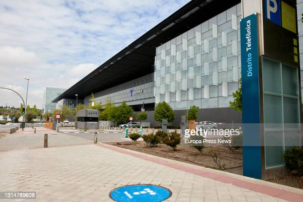Telefonica's headquarters building, on 27 April 2021, in Madrid, Spain. Telefonica has changed its image for the first time in more than two decades...