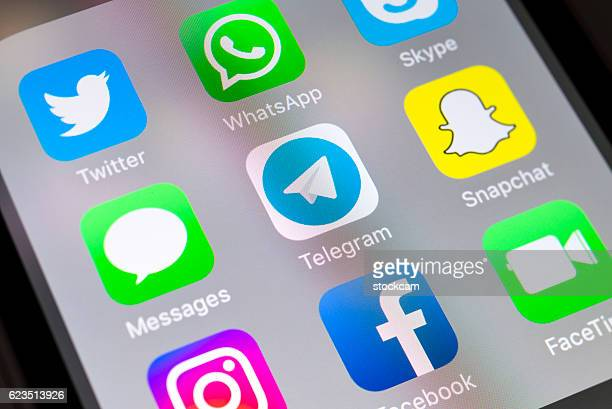 Telegram and social media apps on cellphone