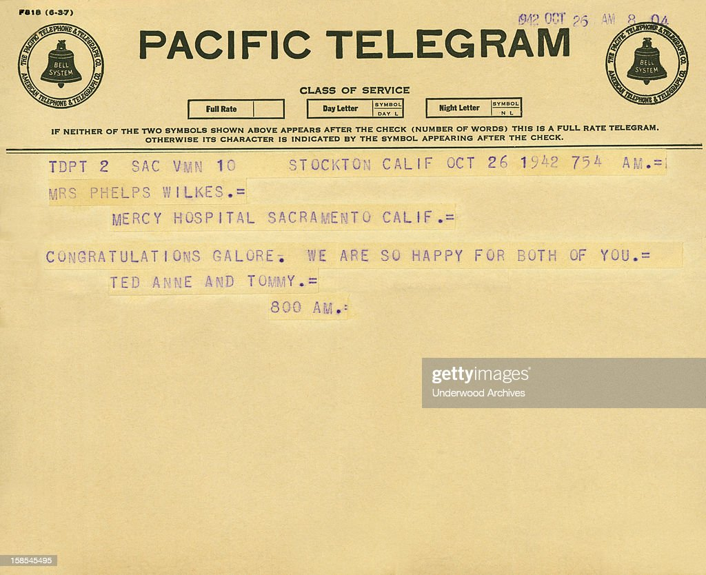 Congratulatory telegram pictures getty images a telegram congratulating a woman at mercy hospital in sacramento on the birth of her child 1betcityfo Choice Image