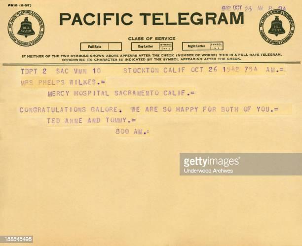 Telegram congratulating a woman at Mercy Hospital in Sacramento on the birth of her child, Stockton, California, October 26, 1942.