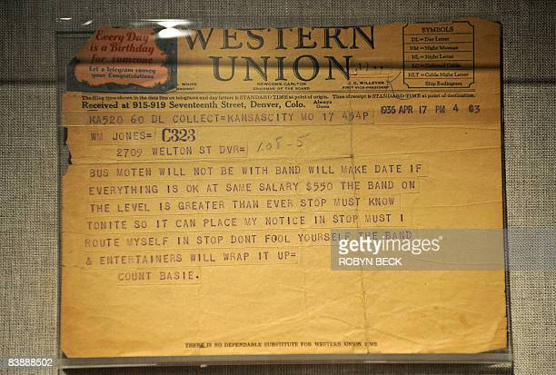 A telegram from Count Basie to a promoter is on display at the Grammy Museum in Los Angeles on December 2 press preview day The Grammy Museum will...