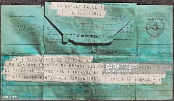 Telegram from Guglielmo Marconi to Edouard Branly 1899 Paris Bibliotheque Nationale