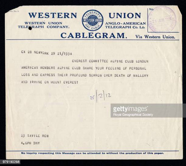 Telegram from the American Alpine Club expresssing sorrow for the death of Mallory and Irvine 21 June 1924 Mount Everest Expedition 1924