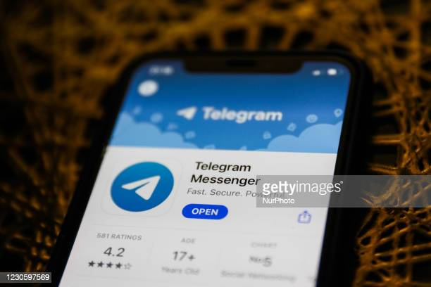 Telegram Messenger logo on the App Store is seen displayed on a phone screen in this illustration photo taken in Poland on January 14, 2021. Signal...