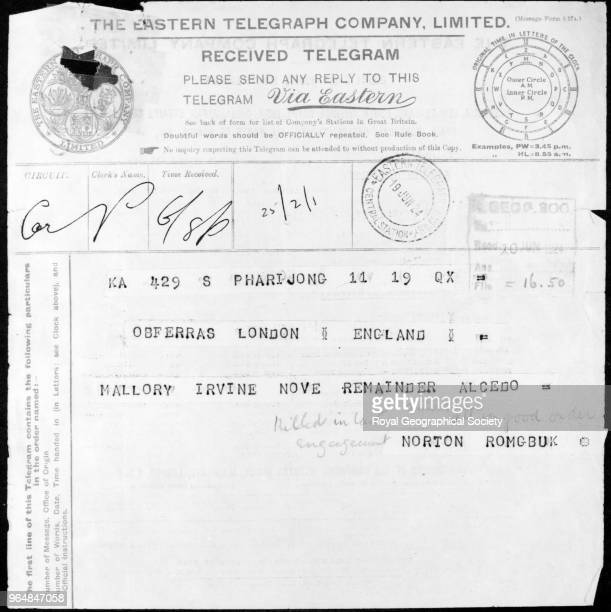 Telegram of Mallory and Irvine's death This is NortonÆs coded telegram which was sent from Base Camp at Rongbuk by runner to Phari Dzong from where...