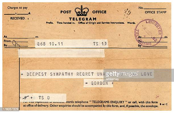 sympathetic british telegram 1962 - telegram stock pictures, royalty-free photos & images