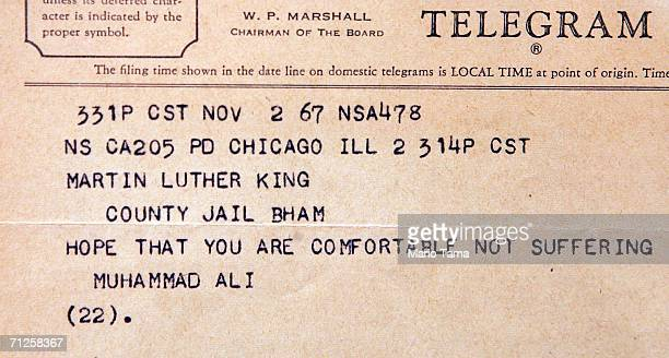 A telegram to a jailed Dr Martin Luther King Jr from boxer Muhammad Ali is displayed at Sotheby's which will offer the King archive at auction June...