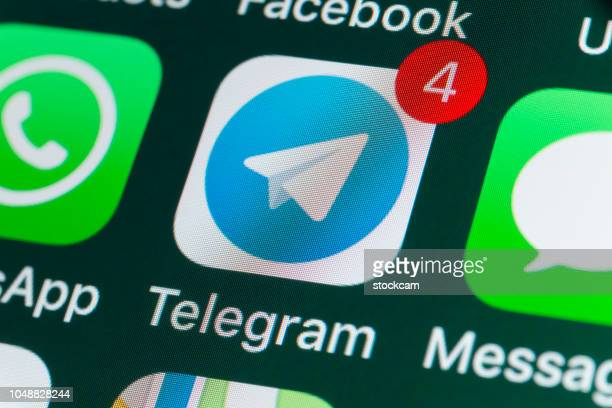 telegram, whatsapp, messages and other phone apps on iphone screen - telegram stock pictures, royalty-free photos & images