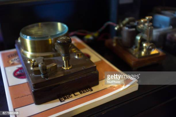 A telegraph is pictured at 'Ye Olde Hurdy Gurdy Museum of Vintage Radio' in Howth Dublin on August 6 2017 It is a museum of communication history...