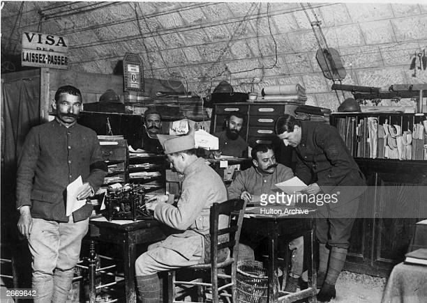 Telegraph operators in their headquarters in France during World War I