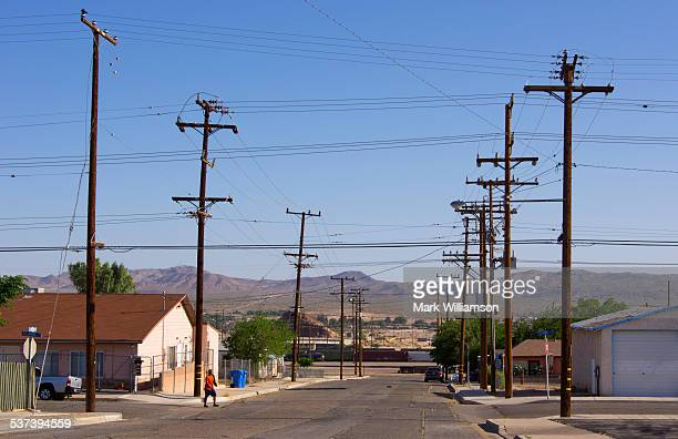 telegraph poles - barstow stock photos and pictures