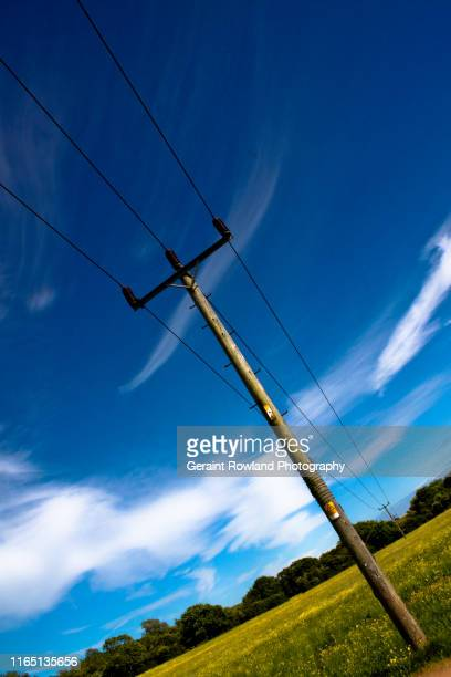 telegraph poles, uk - cardiff wales stock pictures, royalty-free photos & images