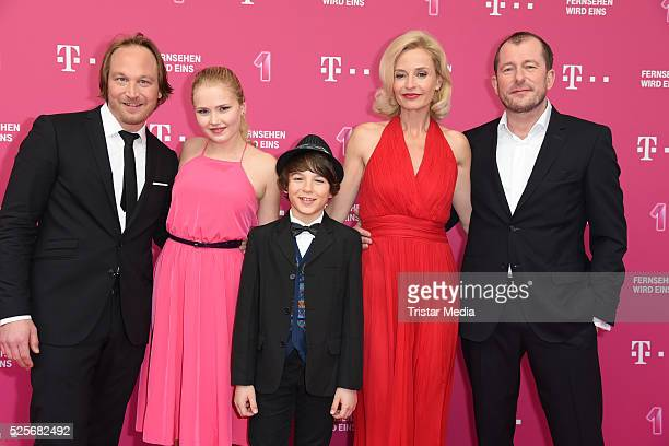 Telekom Familie Heins with Thilo Prothmann Eva Nuernberg Marinus Hohmann Franziska Schlattner Martin Lindow attend the Telekom Entertain TV Night at...