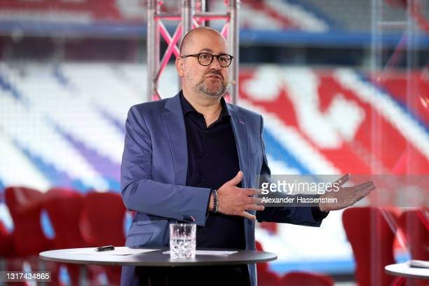 Telekom Head of Business Unit TV Michael Schuld is seen during an interview during the the Magenta TV EURO 2020 Media Day at Allianz Arena on May 11,...