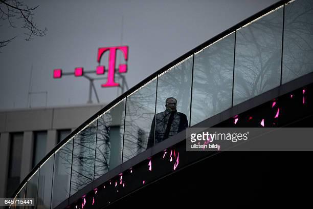 Telekom Logo and pedestrian bridge at the Headquarter of Deutsche Telekom AG at Bonn