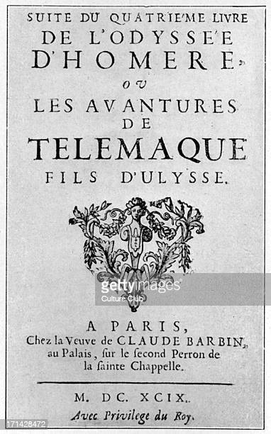 'Telemachus' titlepage to 1699 edition by Fénelon 6 Aug 16517 Jan 1715 French bishop and author Bibliothèque Nationale